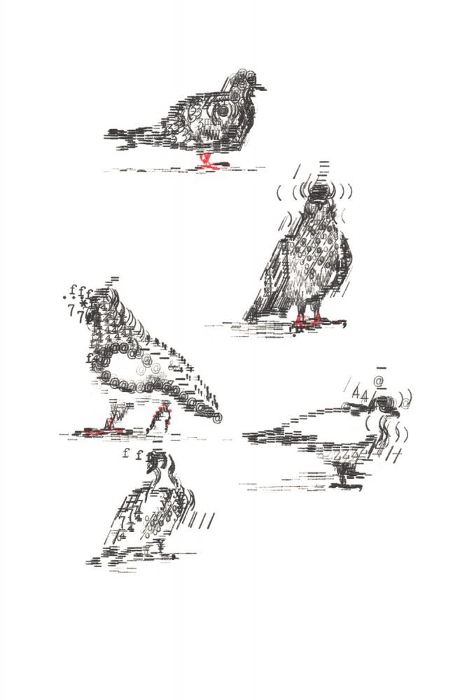Keira Rathbone Typewriter Art - Limited Edition Print - Pigeons in Lockdown