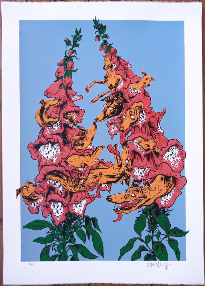Foxgloves and hounds limited edition screenprint