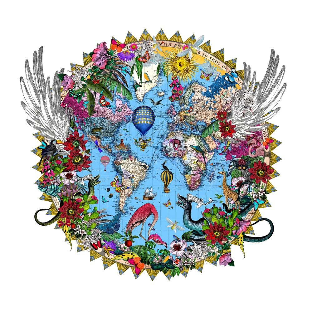 Here Be Dragons - Svifandi Blue World - Art Print