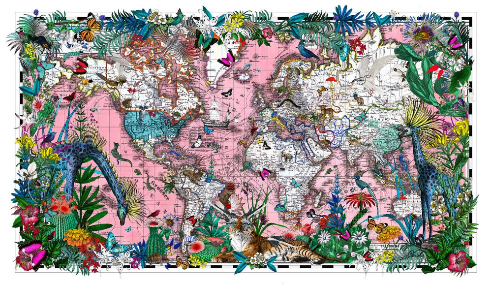 Sailing The Pink Sea Heimskort - Art Print