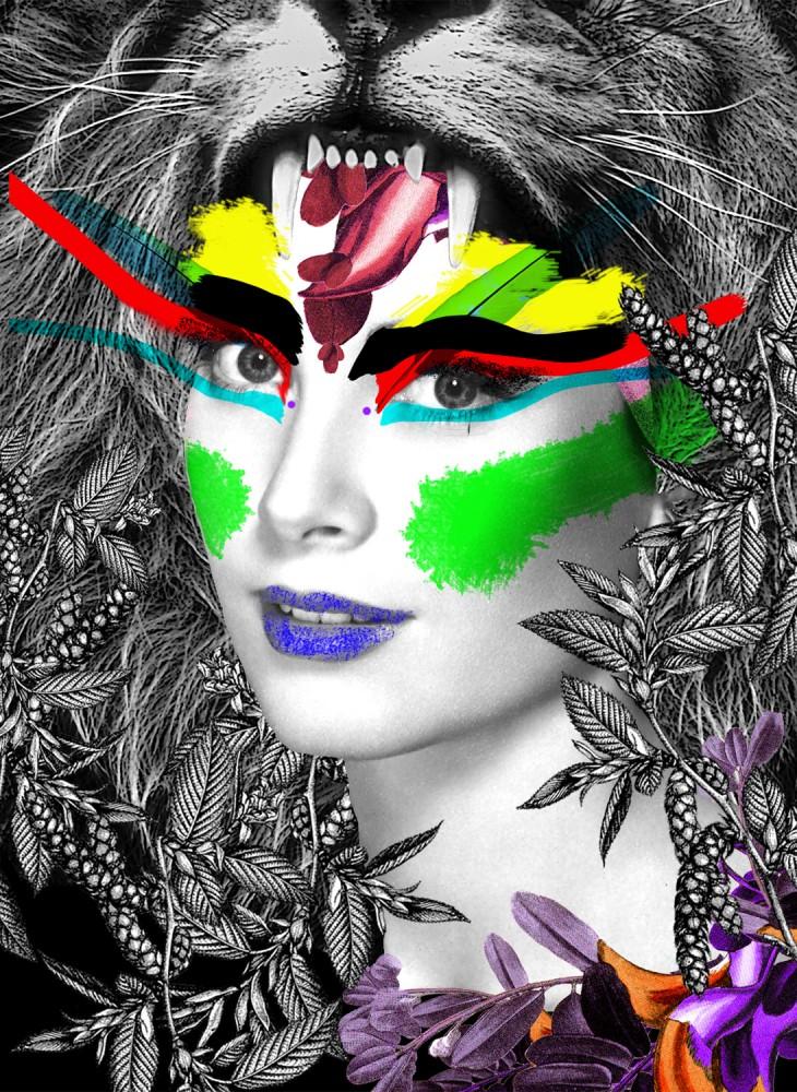 Grace Lion Kelly In Tecno Colour - Art Print