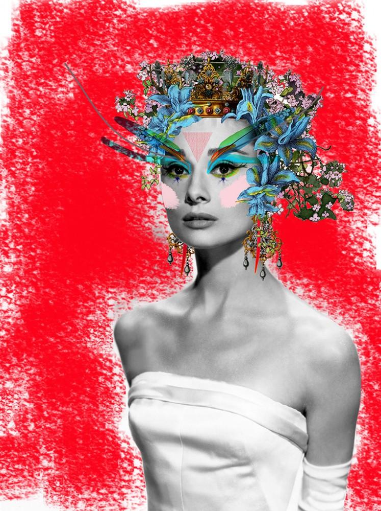 Audrey Hepburn In Tecno Colour - Art Print
