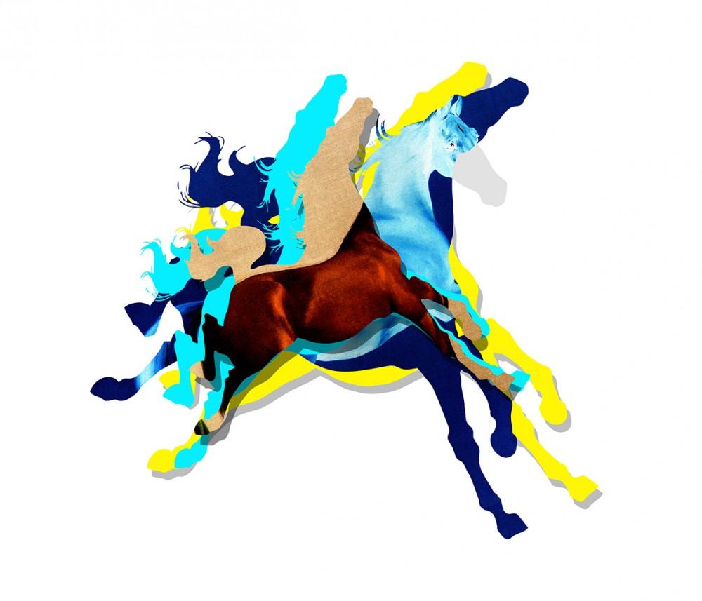Heppni Hestur Blue - Art Print