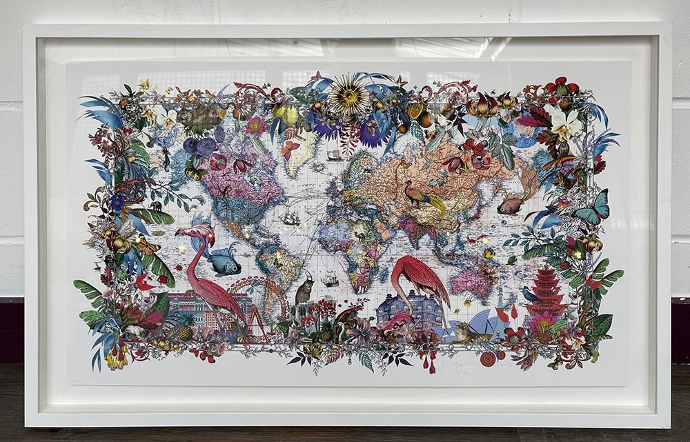 Gull Fiskar - World Map - Art Print - M - Framed