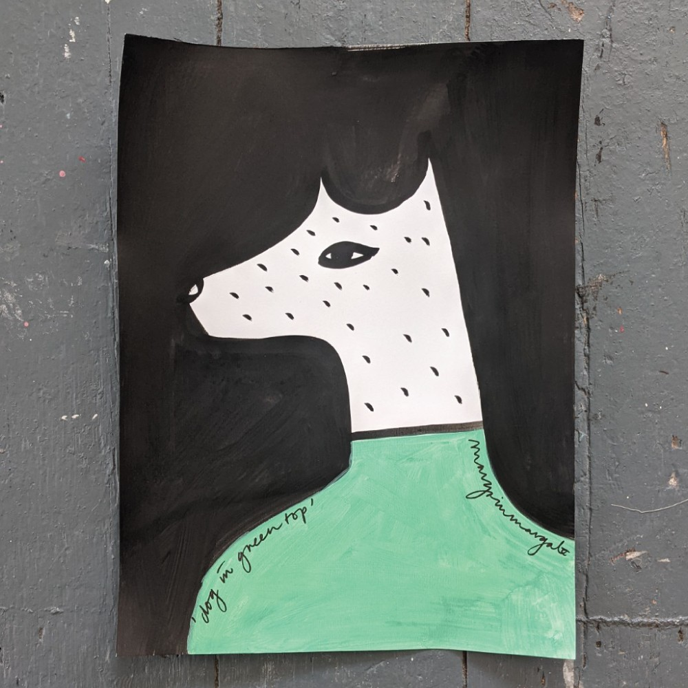 Dog in Green Top