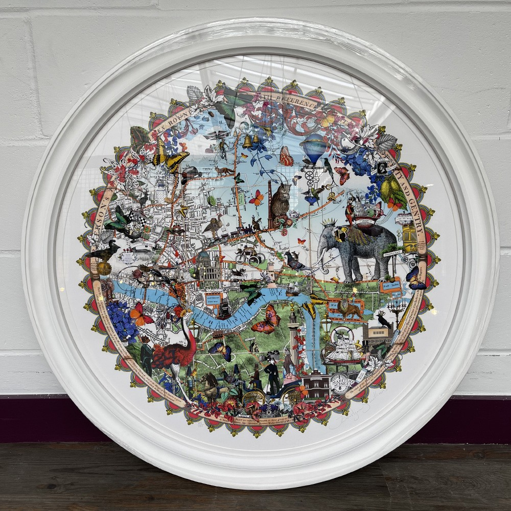 Austur Elephant London - Art Print - Framed in a Bespoke Circular Frame