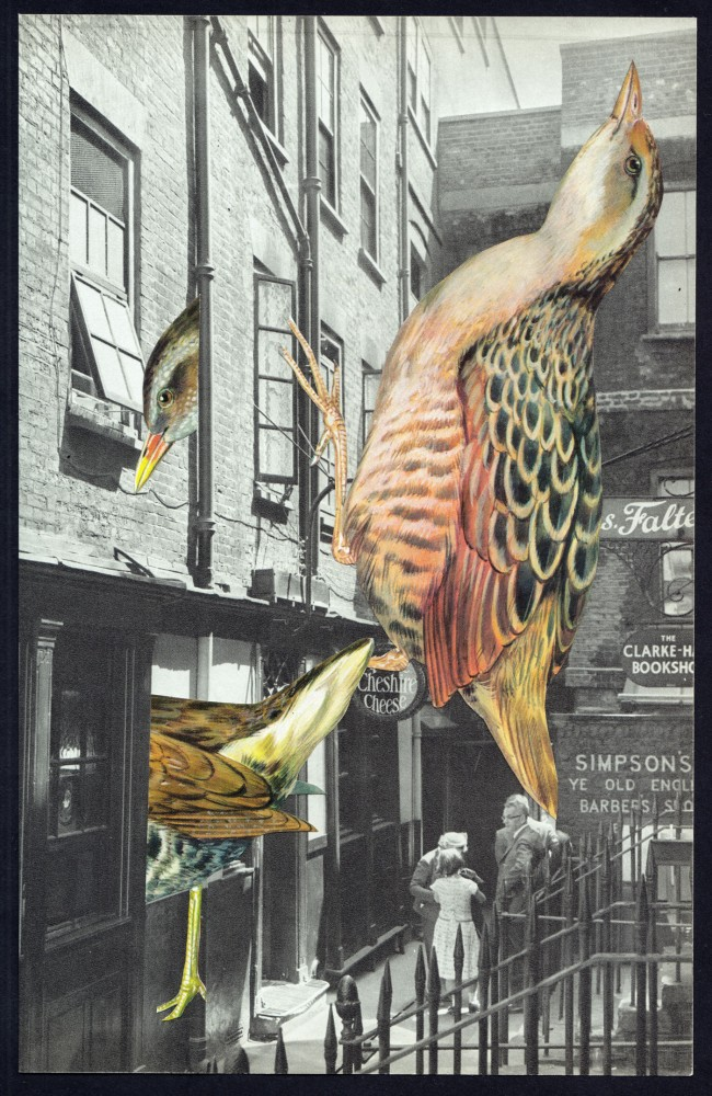 TAKEOVER AT YE OLDE CHESHIRE CHEESE 2021 Original Collage 16x24.5cm
