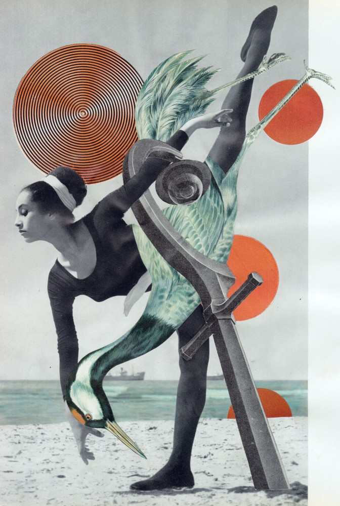 MATING RITUAL DEMONSTRATING 'BEAT INDUCTION' 2021 Original Collage 21x29.5cm