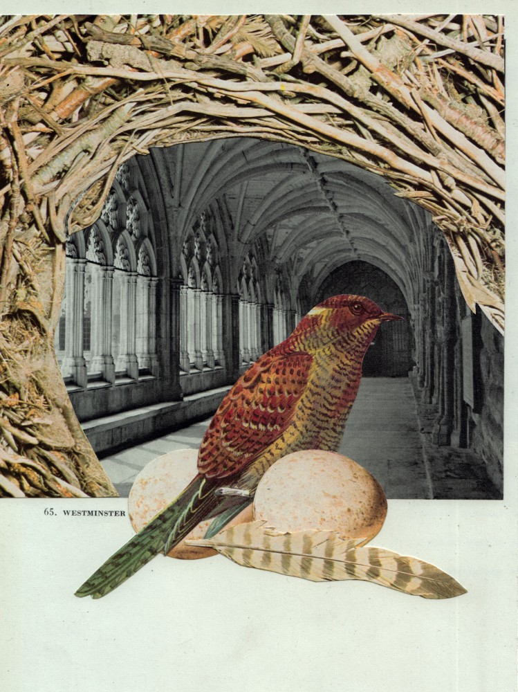 A REGULAR VISITER TO THE ABBEY 2021 Original Collage 15x20cm