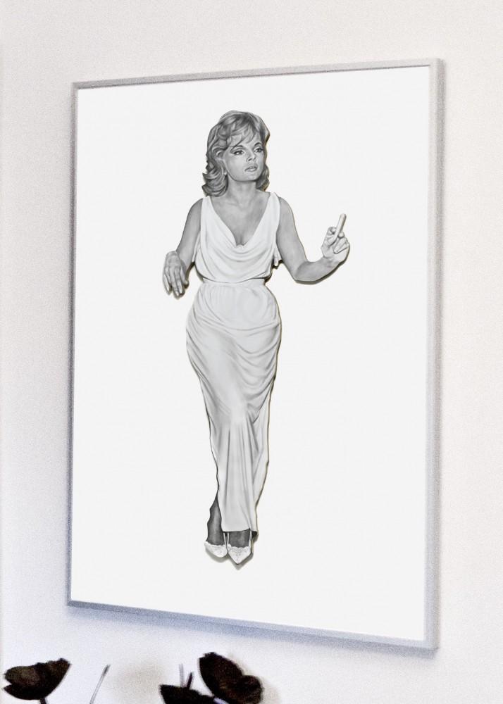 Leaning Board IV: Virna - Silver Framed Giclée print