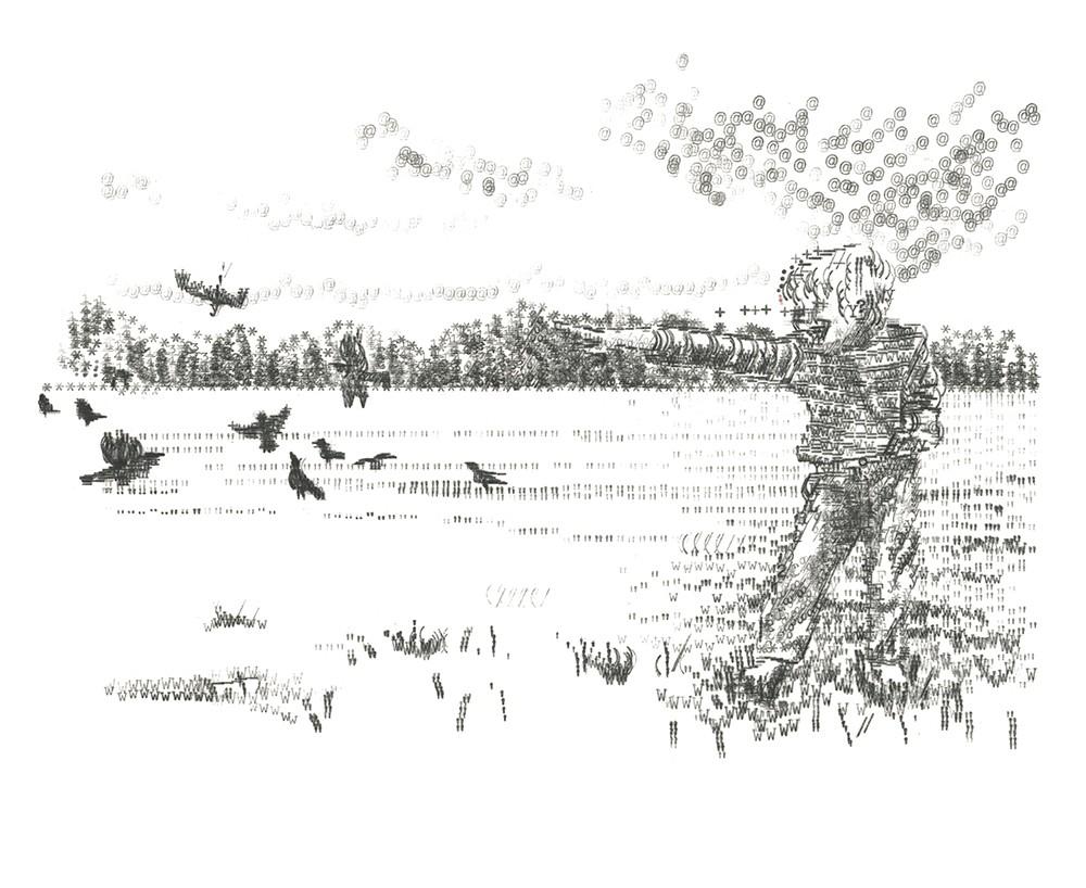 Keira Rathbone Typewriter Art - Limited Edition Print - Van Laughing at Crows