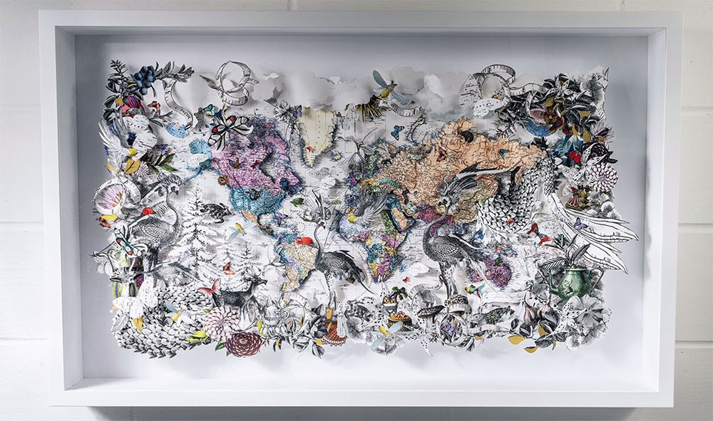 MONOCROME DREKA WORLD MAP - ORIGINAL ARTWORK 2021