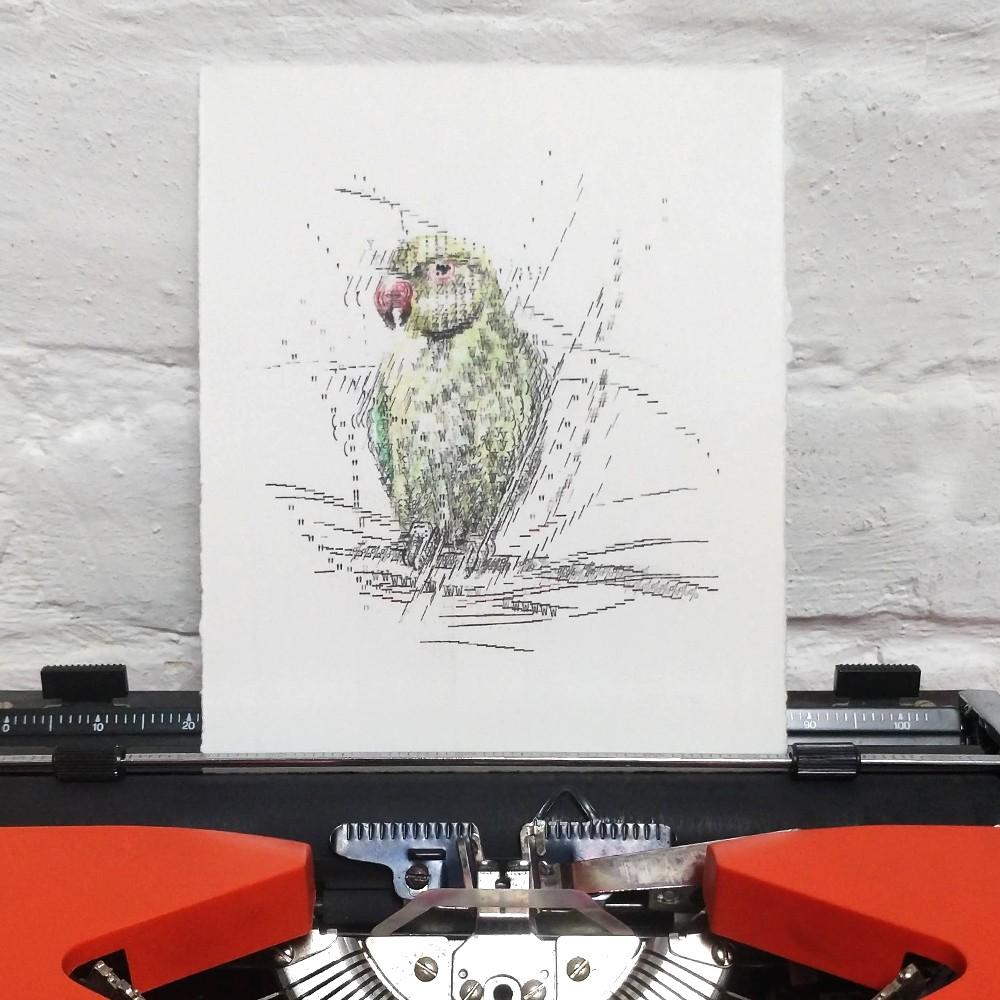 Keira Rathbone Typewriter Art - ORIGINAL Typic - Parakeet