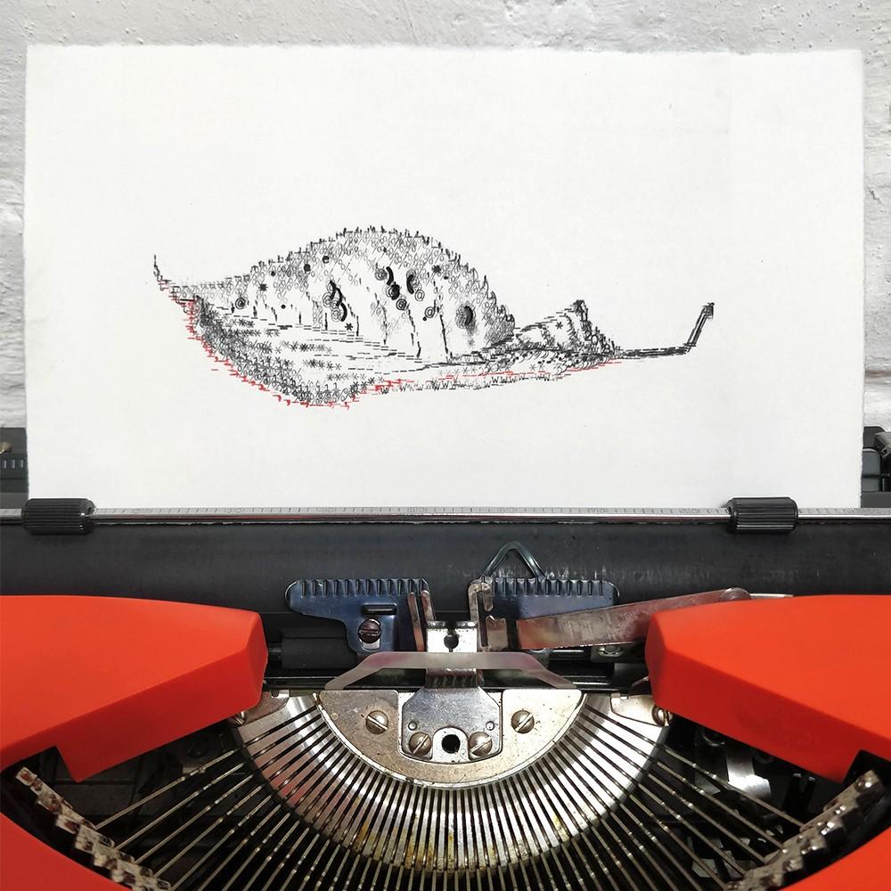 Keira Rathbone Typewriter Art - ORIGINAL Typic - Autumnal Leaf (Red Stripe)