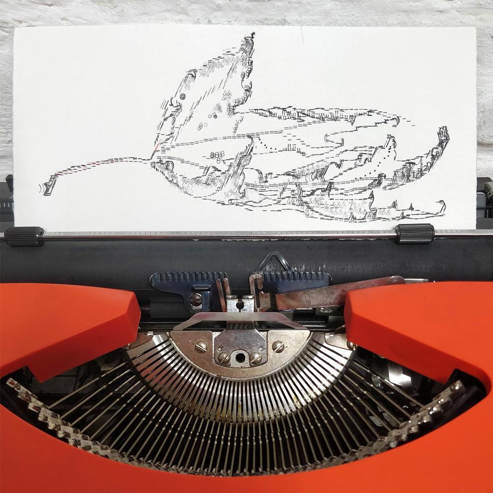 Keira Rathbone Typewriter Art - ORIGINAL Typic - Autumnal Leaf