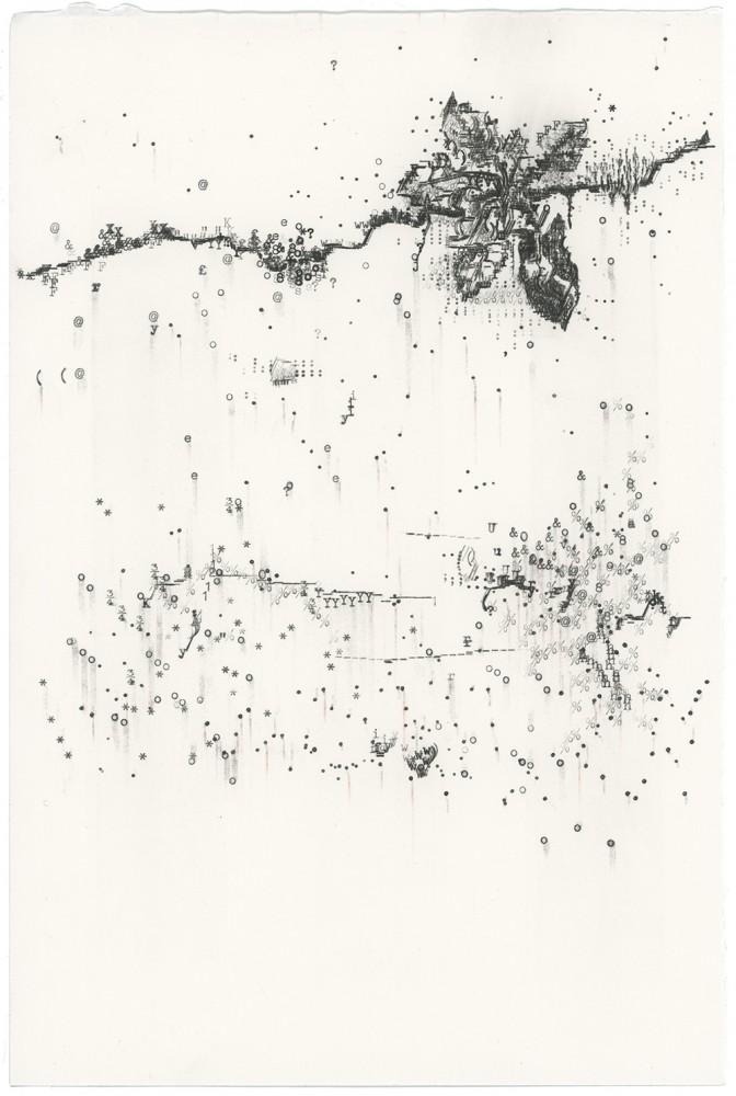 Keira Rathbone Typewriter Art - ORIGINAL Typic - Crack Plant 2 (Dirty White Wall)