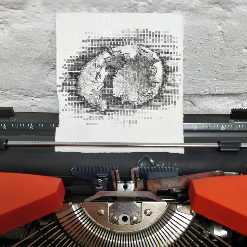 KEIRA RATHBONE TYPEWRITER ART - ORIGINAL TYPIC - Shell Hatched