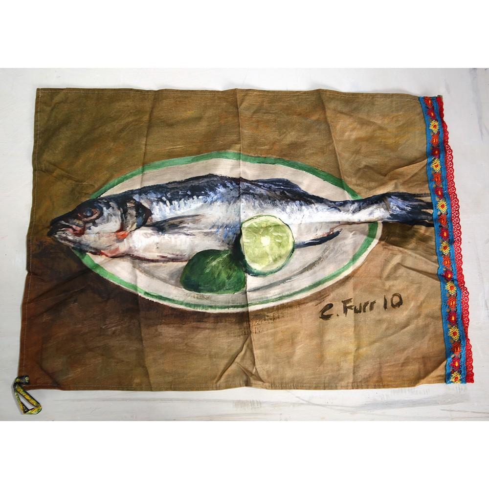 FISH TEATOWEL - SEA BASS WITH LIME